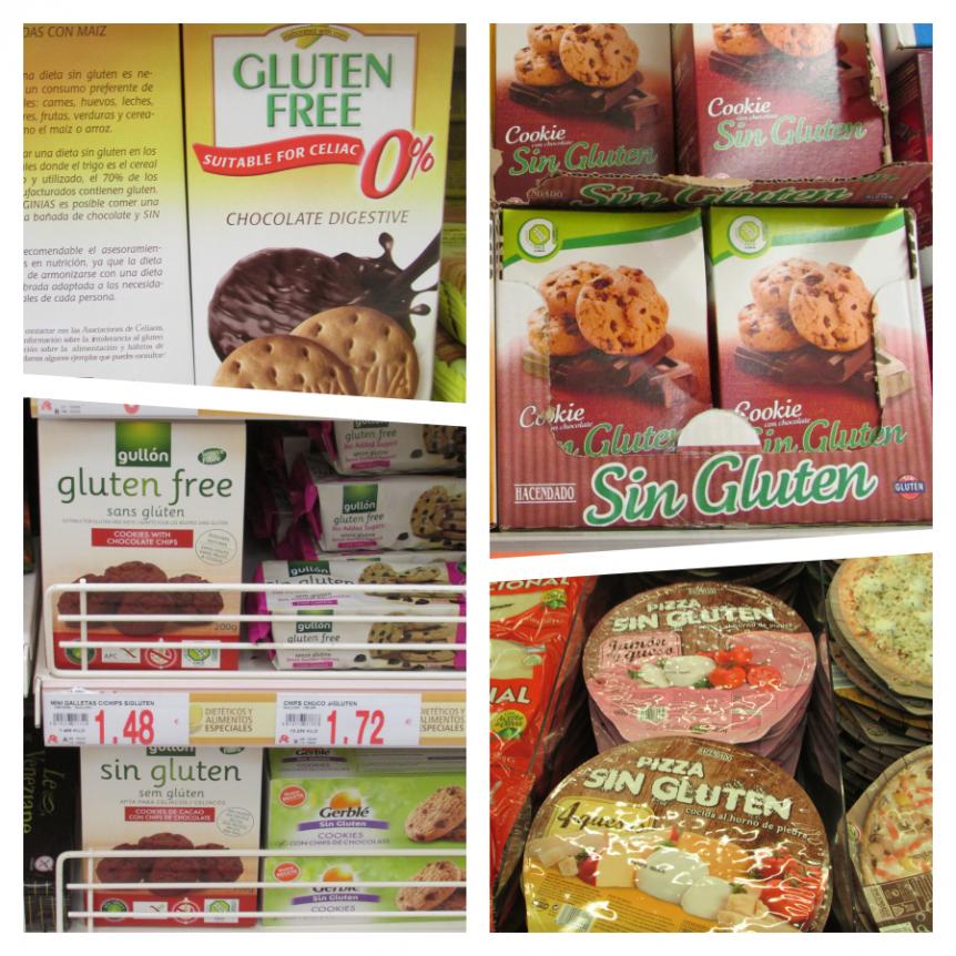 Estanterías en las tiendas con artículos sin gluten